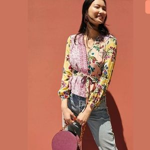 ANTHROPOLOGIE MEADOW RUE FLORAL PATCHWORK WRAP TOP